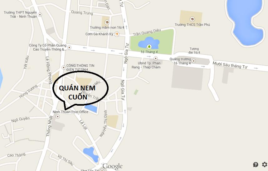 Ban Do huong dan duong di den quan nem cuon Phan Rang