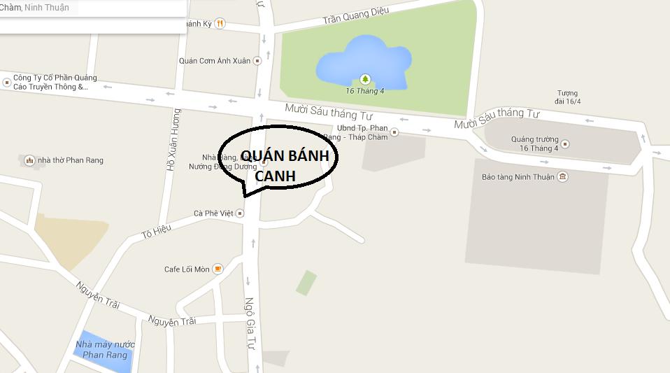 BAN DO HUONG DAN QUAN BANH CANH CHA CA PHAN RANG.