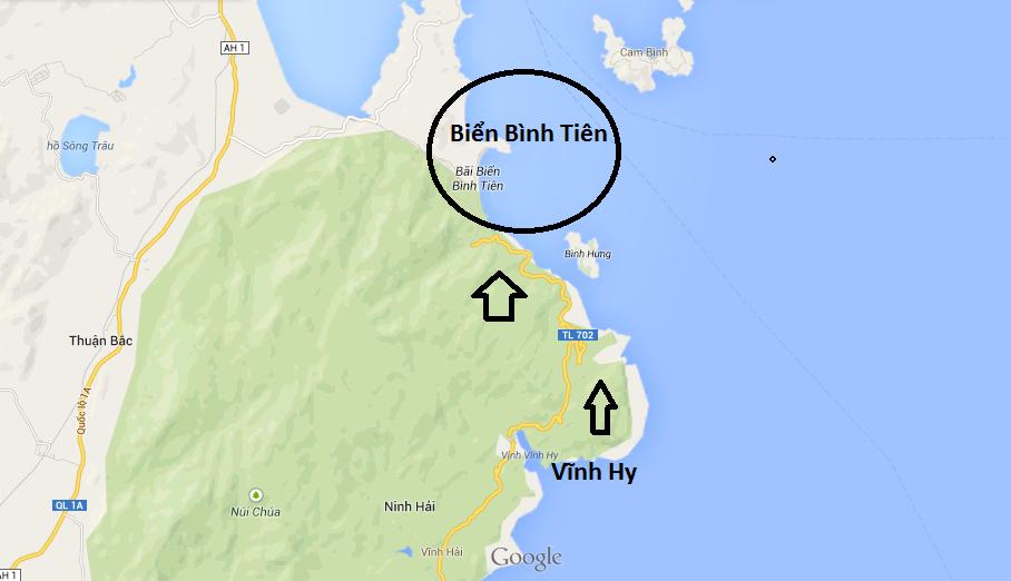 huong dan duong di den bien Bình Tiên
